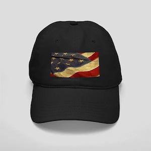 Distressed Vintage American Flag Black Cap 4067a9336df