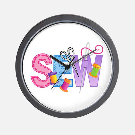 LARGE SEW MONTAGE Wall Clock