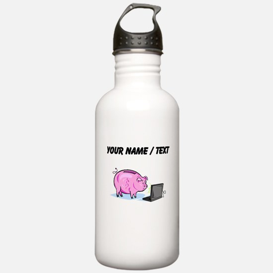 Piggy Bank And Laptop (Custom) Water Bottle