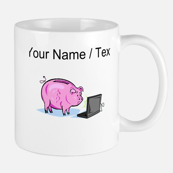 Piggy Bank And Laptop (Custom) Mugs