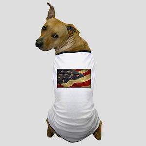 Distressed Vintage American Flag Dog T-Shirt
