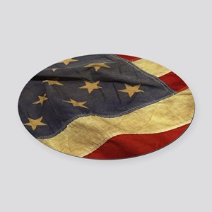 Distressed Vintage American Flag Oval Car Magnet