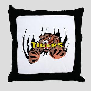TIGER TEARING THROUGH Throw Pillow