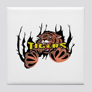 TIGER TEARING THROUGH Tile Coaster