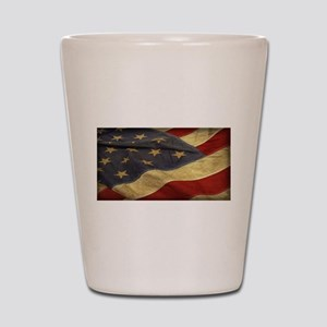 Distressed Vintage American Flag Shot Glass