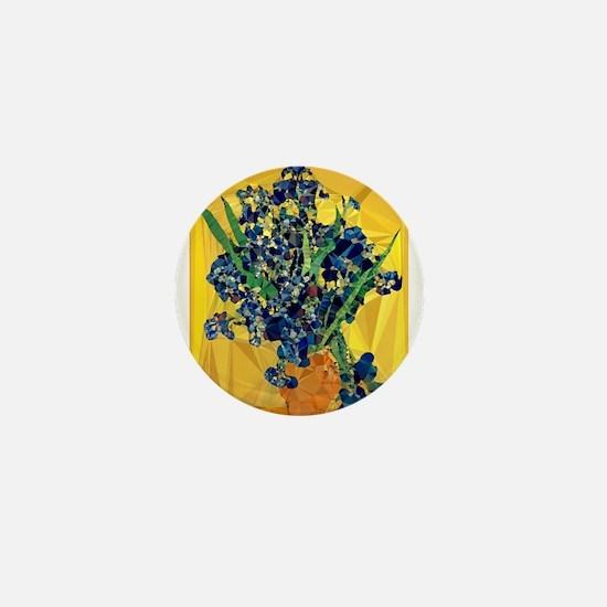 Van Gogh Irises Yellow Background Mini Button