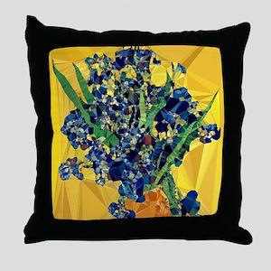 Van Gogh Irises Yellow Background Throw Pillow