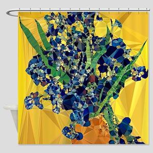 Van Gogh Irises Yellow Background Shower Curtain