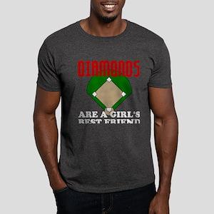 Girls Softball Diamonds Dark T-Shirt