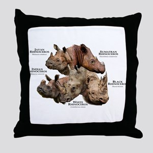 Rhinos of the World Throw Pillow
