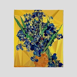 Van Gogh Irises Yellow Background Throw Blanket
