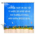 Beach Umbrellas Coastal Quote Shower Curtain