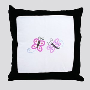 FLYING INSECT APPLIQUES Throw Pillow