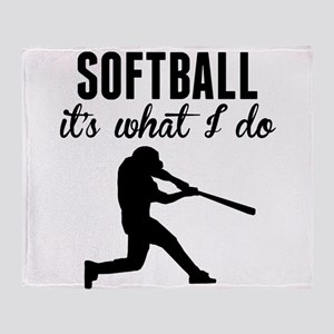 Softball Its What I Do Throw Blanket