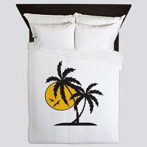 PALMS AND SUN Queen Duvet