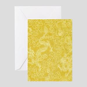 Gold Silk Asian Dragon Greeting Cards