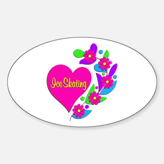Ice Skating Heart Sticker (Oval)