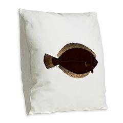 Winter Flounder Burlap Throw Pillow