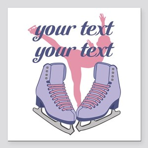 """Personalized Ice Skating Square Car Magnet 3"""" x 3"""""""
