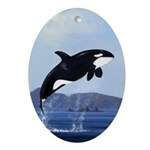 Orca Breaching Ornament (Oval)