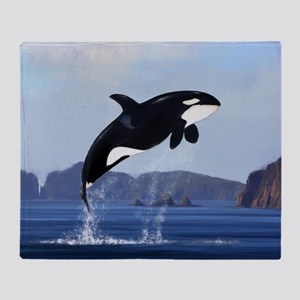 Orca Breaching Throw Blanket
