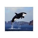 Orca Breaching Throw Blanket