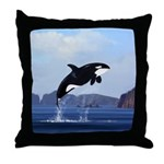 Orca Breaching Throw Pillow