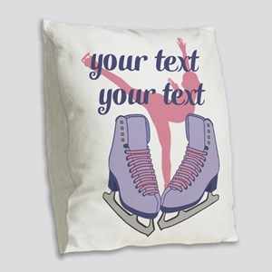 Personalized Ice Skating Burlap Throw Pillow