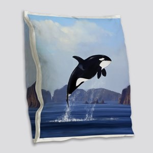 Orca Breaching Burlap Throw Pillow