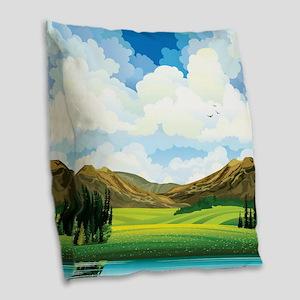 Country Landscape Burlap Throw Pillow