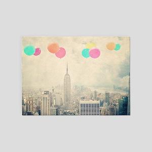 128257094 Balloons Over New York 5'x7'Area Rug
