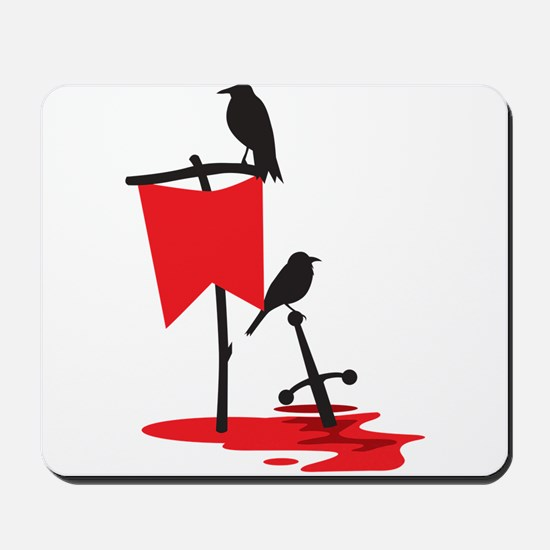 Crows on the battlefield RED Mousepad