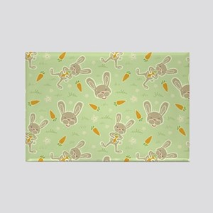 Spring Bunny and Carrots Rectangle Magnet