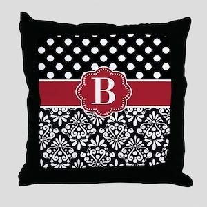 Black Red Dots Damask Monogram Throw Pillow