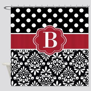 Black Red Dots Damask Monogram Shower Curtain