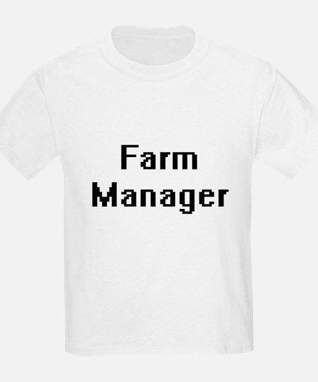 Farm Manager Retro Digital Job Design T-Shirt