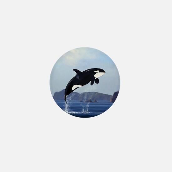 Orca Breaching Mini Button