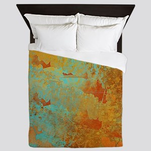 Turquoise and Copper Red Queen Duvet