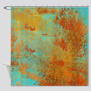 Turquoise and Copper Red Shower Curtain