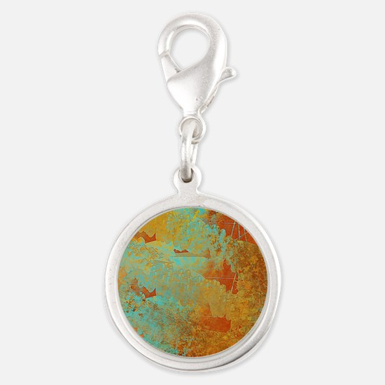 Turquoise and Copper Red Silver Round Charm