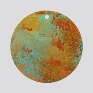 Turquoise and Copper Red Round Ornament