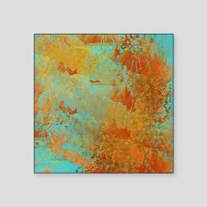 """Turquoise and Copper Red Square Sticker 3"""" x 3"""""""