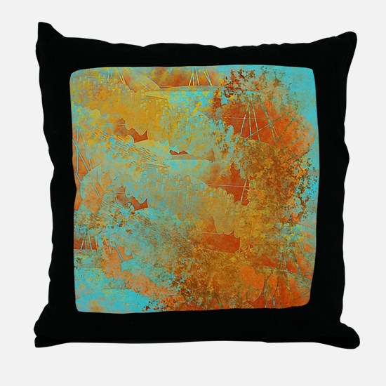 Turquoise and Copper Red Throw Pillow