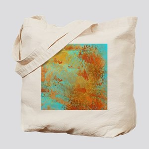 Turquoise and Copper Red Tote Bag