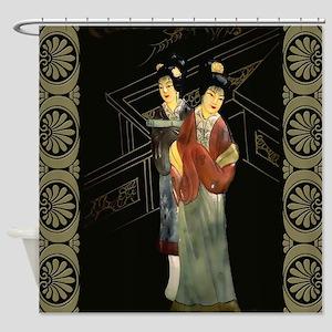 Two Japanese Women on Bridge Shower Curtain