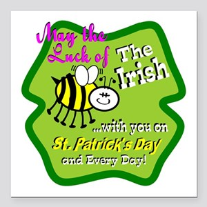 """Luck Bee With You Square Car Magnet 3"""" x 3"""""""