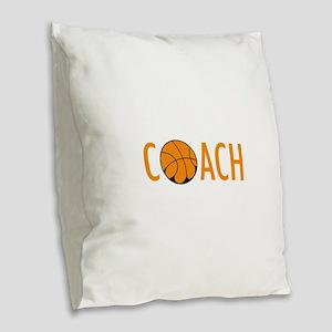 BASKETBALL COACH Burlap Throw Pillow