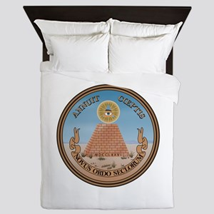 The Reverse Of The Us Great Seal Queen Duvet Cover