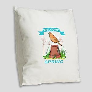 WELCOME SPRING Burlap Throw Pillow