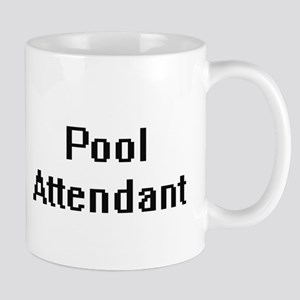 Pool Attendant Retro Digital Job Design Mugs